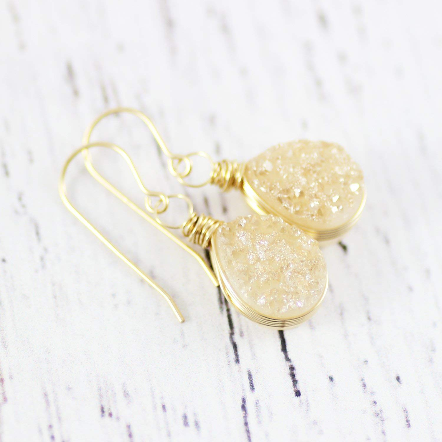 Champagne Druzy Gold Fill Teardrop Earrings