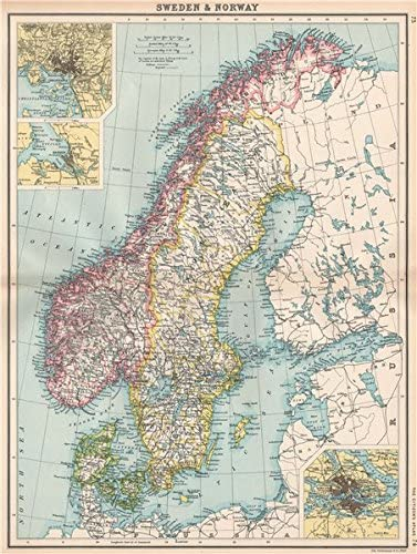 Amazon Com Scandinavia Sweden Norway Denmark Inset Christiania Oslo Stockholm 1912 Old Map Antique Map Vintage Map Printed Maps Of Scandinavia Posters Prints