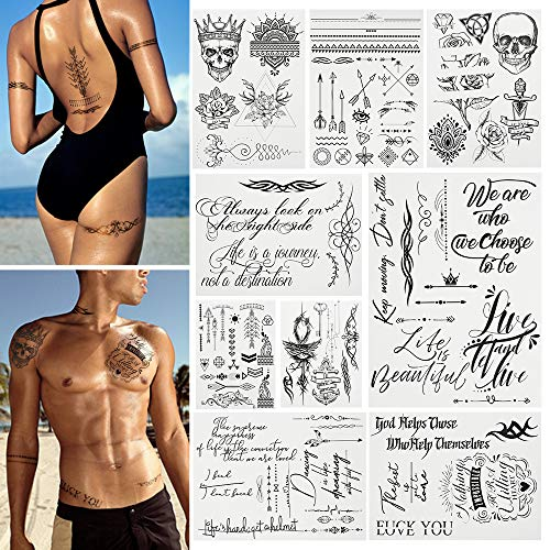 Temporary Tattoos Body Art Stickers - 100 Unique Black Fashion Various Designs Words Qoutes Marks Temp Tats Fake Waterproof Removable Stickers Party Vacation Tatts Flowers Skull Symbol 9 Sheets