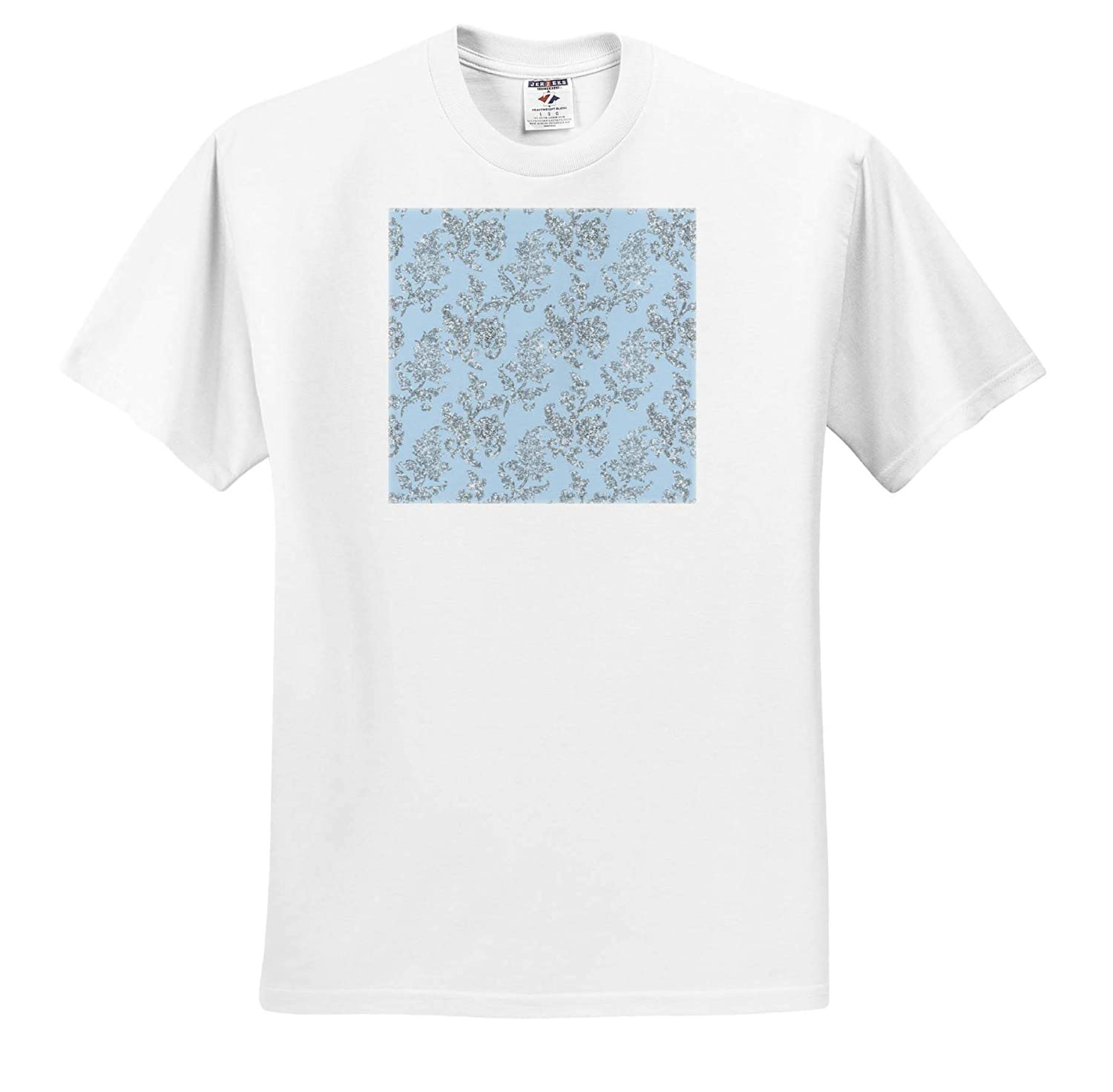 Adult T-Shirt XL Patterns Pretty Light Blue Image of Glitter Floral Vines Pattern 3dRose Anne Marie Baugh ts/_317679