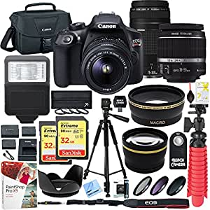 Canon EOS Rebel T6 DSLR Camera with EF-S 18-55mm f/3.5-5.6 IS II and EF 75-300mm f/4-5.6 III Lens and Two (2) 32GB Memory Cards Plus Triple Battery Accessory Bundle