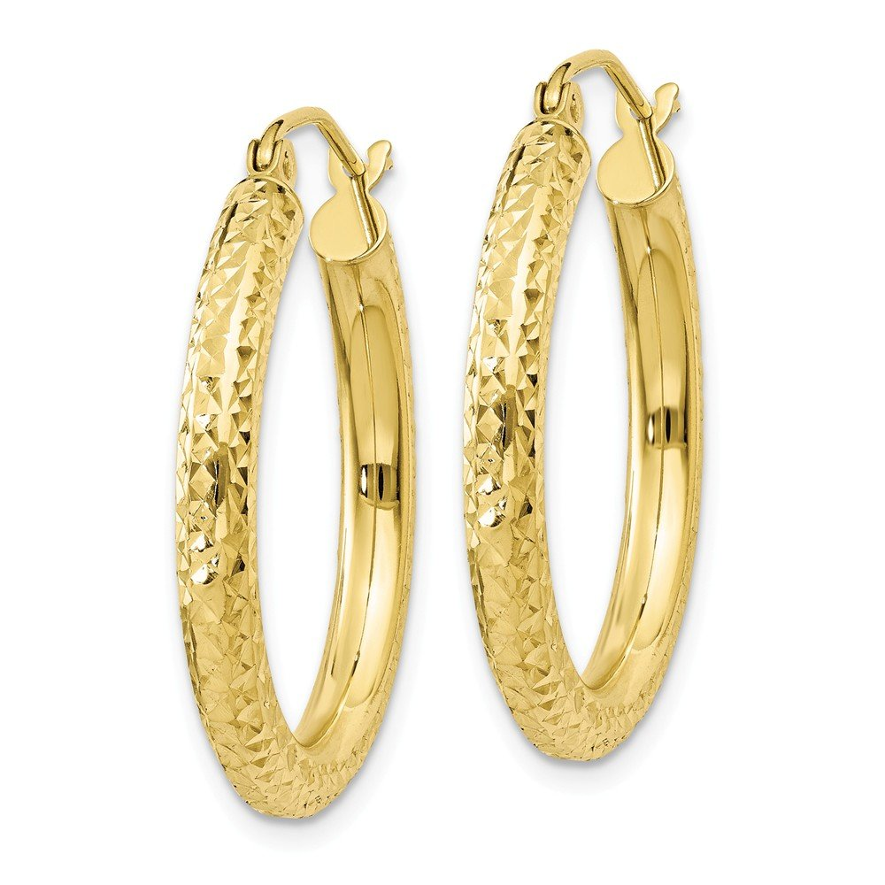 10k Yellow Gold Diamond-cut 3mm Round Hoop Earrings Ideal Gifts For Women 20x3mm