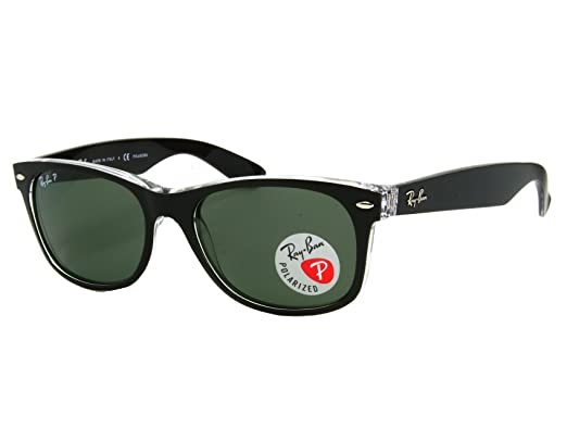 4797d2d106 Image Unavailable. Image not available for. Color  Ray Ban RB2132 New  Wayfarer 6052 58 Top Black On Transparent Polarized 55mm