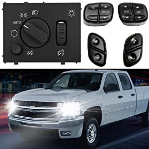 Headlight Switch & Steering Wheel Control Buttons Compatible with Chevy Silverado GMC Sierra 2003-2007