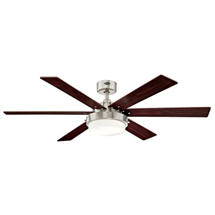Westinghouse 7205100 contemporary alloy ii 52 inch brushed nickel indoor ceiling fan led light kit