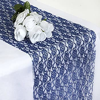 MDS Pack Of 10 Wedding 12 X 108 Inch Lace Table Runner For Wedding Banquet  Decor Table Lace Runner  Navy Blue