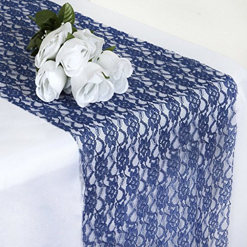 MDS Pack Of 10 Wedding 12 x 108 inch Lace Table Runner For Wedding Banquet Decor table Lace Runner- Navy Blue (Navy Blue Table Runners Wedding)