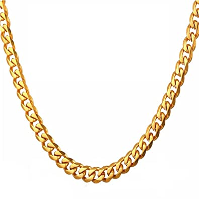 TUOKAY Faux Gold Chain Necklace Fake Gold Flat Curb Chain Dainty