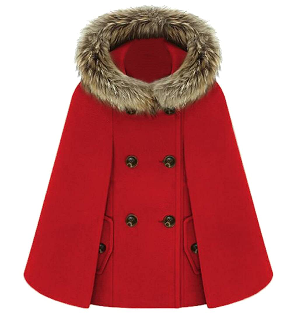 BU2H Womens Double Breasted Cape Wool Blend Coat with Faux Fur Hooded