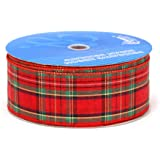 Berwick 2-1/2-Inch Wide by 50-Yard Spool Wired Edge Clarkston Craft Ribbon, Red/Green/Gold