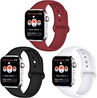 Tfheey Brand Compatible Apple Watch Correa 42mm 38mm 44mm 40mm, Silicona Blanda Deporte de Reemplazo Correas Compatible...