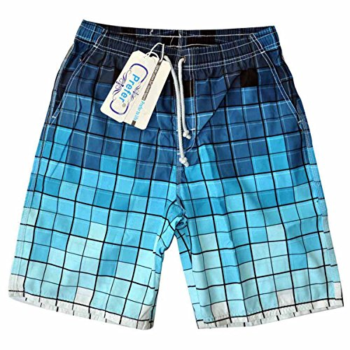 Men's Beatch Shorts With Pockets Professional Designer Casual Outdoor Board Wear Quick Dry Waterproof Anti Sand Swim Trunks,Professional peach skin fabric(2XL Size,Gradient Blue Grid Design)