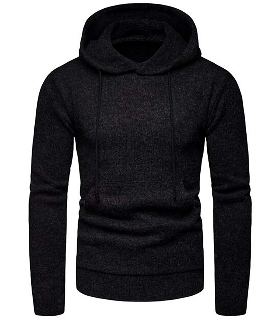 Frieed Mens Winter Knit Hooded Jumpers Solid Long Sleeve Pullover Sweater