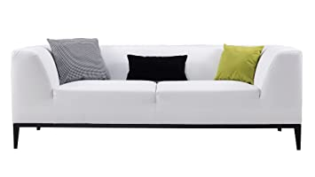 Incroyable American Eagle Furniture Olivia Minimal Living Room Bonded Leather Upholstered  Sofa With Throw Pillow, White