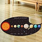 Small round rug Carpetplanets vector set on dark background our solar system door mat indoors Bathroom Mats Non Slip-Round 24''