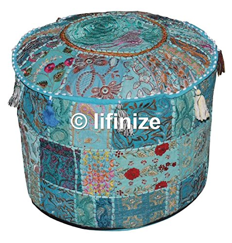 Home Decorative Ottoman Pouf Cover Traditional Living Room Foot Stool Handmade Floor Pillow Chair Vintage Cotton Cushion Covers Embroidered Patchwork, Cushion Ottoman Pouf,Indian Designs Ethnic Patchw by iinfinize