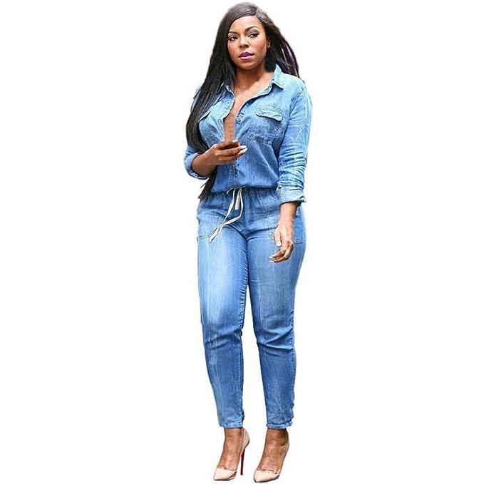 d328b77823c Amazon.com  GBSELL Fashion Women Long Sleeve Denim Jumpsuits Denim Piece  Pants (S)  Clothing