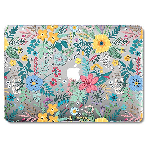 MacBook Air 13 Inch Case Older Version Compatible A1369/A1466 2008-2017 Release NO Touch ID, GMYLE Hard Plastic See Through Glossy Scratch Guard Cover for Apple Mac Air 13 - Cheery Floral Flower