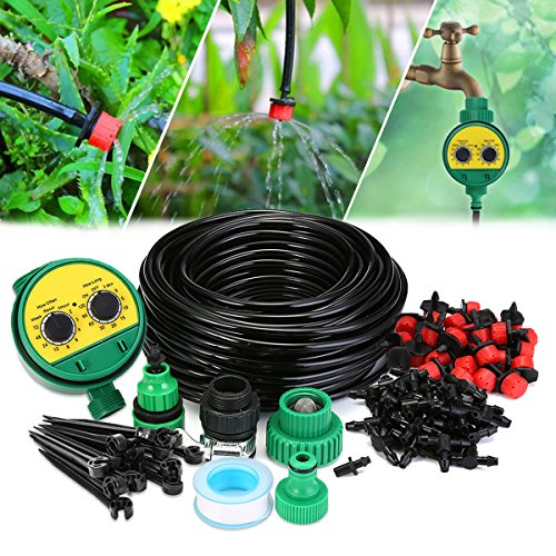 KINGSO Drip Irrigation Kit Sprinklers System for Garden Included 25Meter Irrigation Tubing Hose Timer Drippers and Various Watering Drip Kits