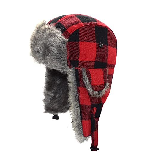 0531acb9096 Amazon.com  LIXYIT Plaid Aviator Trapper Ushanka Ski Hat Trooper Winter  Russian Cap With Earflaps Red (One Size)  Plaid  Home Audio   Theater