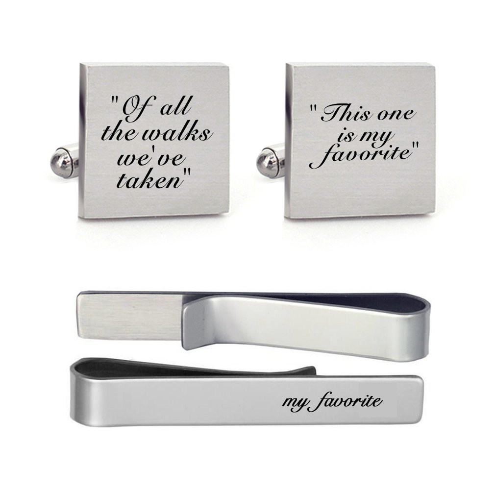 MUEEU Groom Wedding Cufflinks Engraved of all the Walks We Have Take Square Round Cuff link Tie Clip (Square Cufflink and 1 Tie Clip)