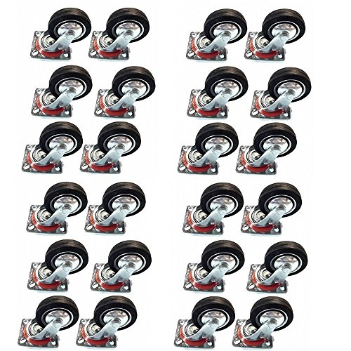 24 Pack 3' Swivel Caster Wheels Rubber Base with Top Plate & Bearing Heavy Duty