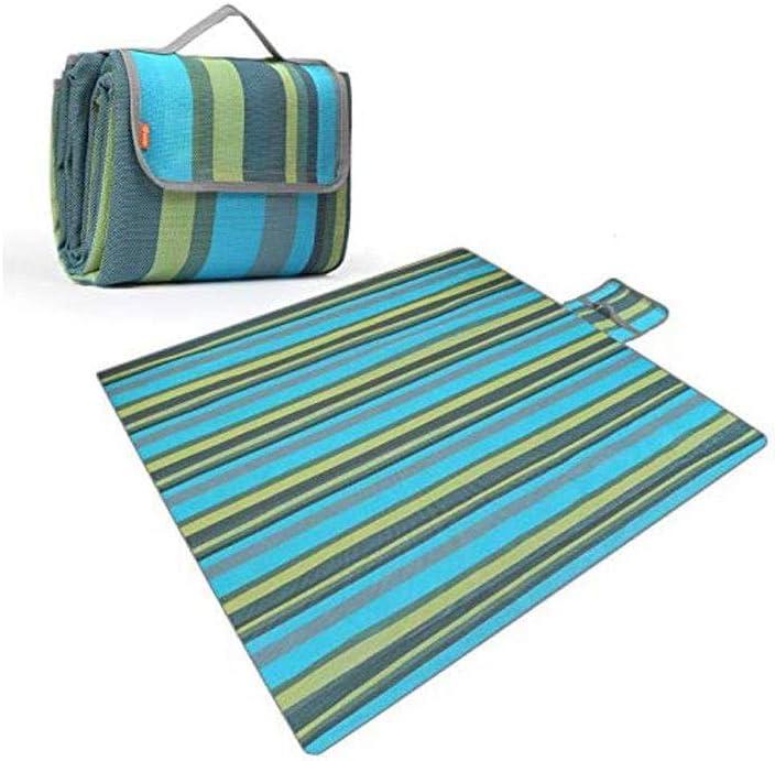 실내 및 실외용 SASAMM 대형 피크닉 담요 해변 여행 캠핑 하이킹 접이식 귀여운 녹색 줄무늬 테마 (색상 : 파란색)
