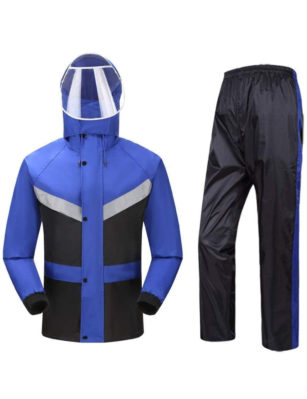 Waterproof Jacket Trouser Suit Breathable Hooded Raincoat Men and Women Adult Outdoor Work Moto Bike bluee (Size   XLarge)