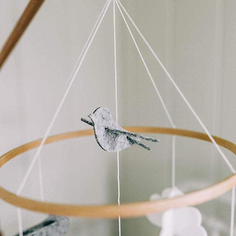 Nrpfell Baby Krippe Mobile V?Gel /& Wolken Filz Kinder Zimmer Decke Dekoration f/ür M?Dchen /& Jungen Grau /& Wei?
