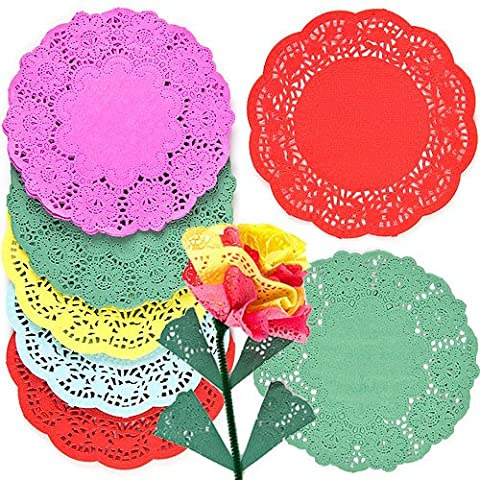 Colored Paper Doilies 5 Assorted Colors 16.5cm Kids' Art & Craft Activities Collage Model Making (Pack of 120)