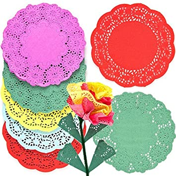 Colored Paper Doilies 5 Assorted Colors 16.5cm Kids' Art & Craft Activities  Collage Model