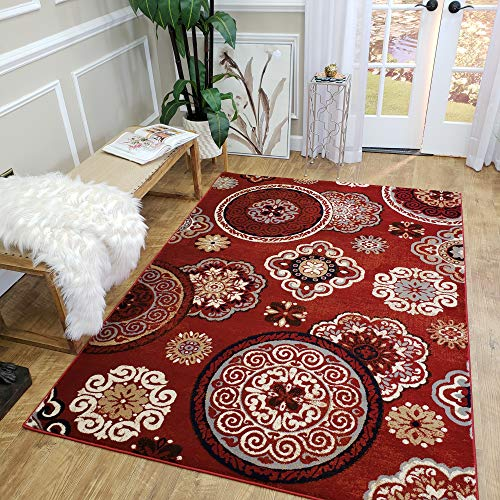 - MH10   Maxy Home Leila Red Floral Medallion 5' x 7' New Trend Bohemian Abstract Thick Area Rug