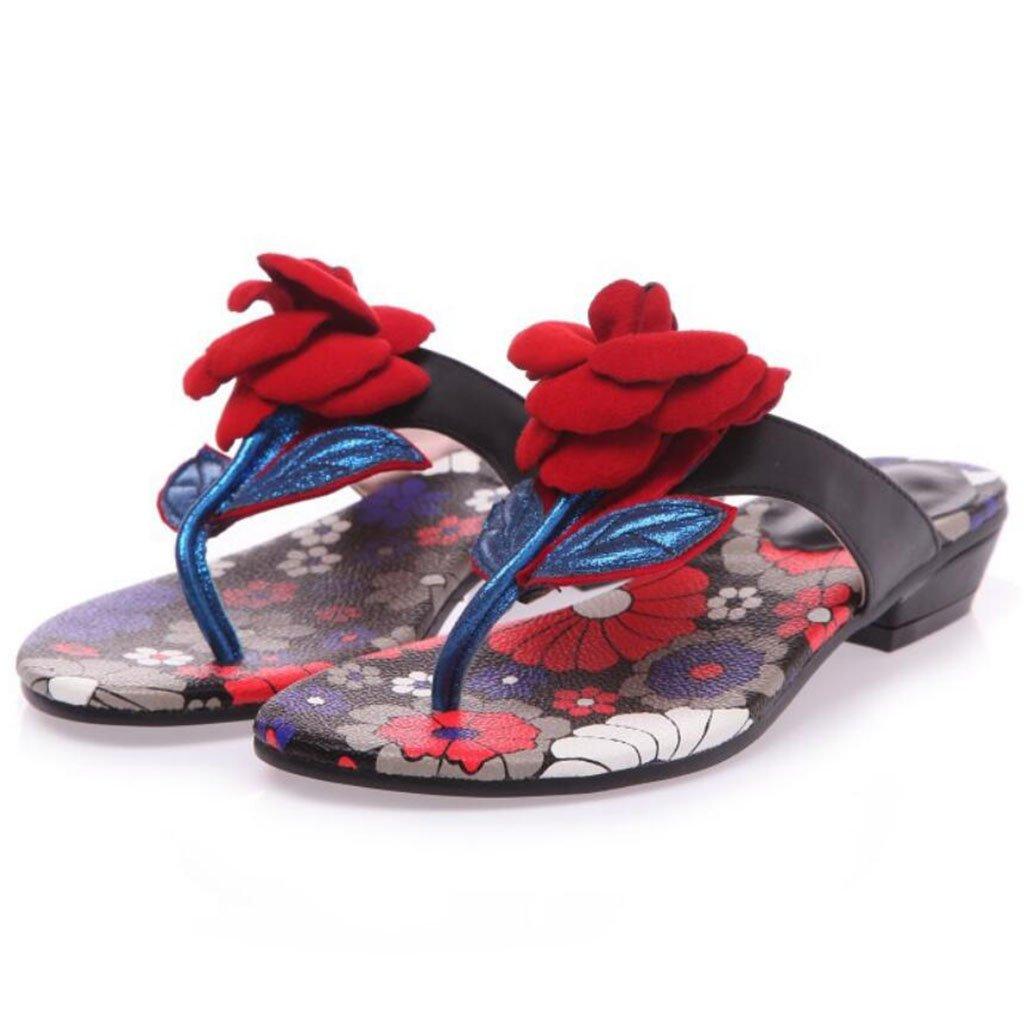GAOLIXIA Frauen-Flipflops Sommer-Rosan-Blaumen-Pantoffel-Mode-Bezaubernde Sandelholze im Freienstrand-zufällige Schuhe blaues Grün-große Größe 34-43