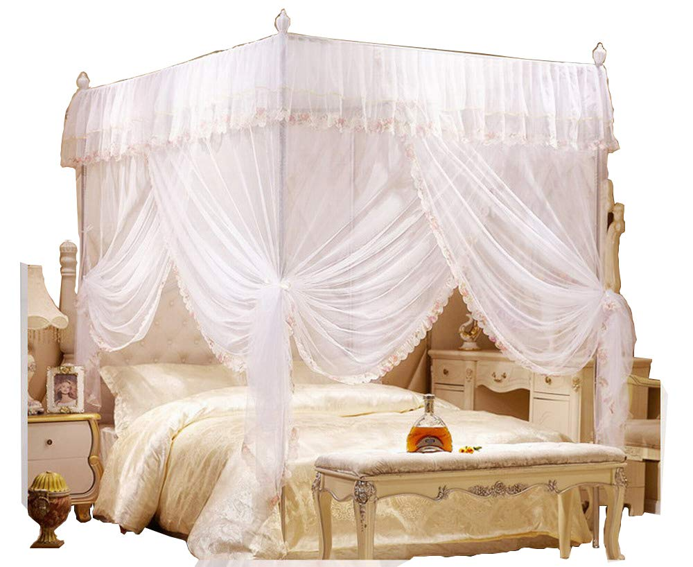 KingKara White Princess 4 Corners Post Bed Curtain Canopy Netting Twin XL, Full/Queen, California King Size (Full/Queen, White)