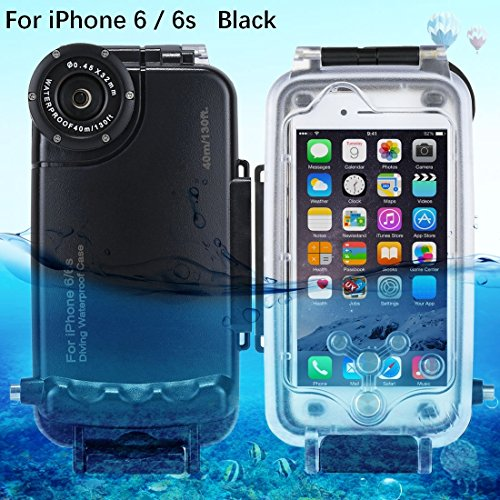 HAWEEL iPhone 6/ 6s Diving Case Professional [40m/ 130ft] Surfing Swimming Snorkeling Photo Video Waterproof Protective Case Underwater Housing with Lanyard (iPhone 6/ 6s, Black)