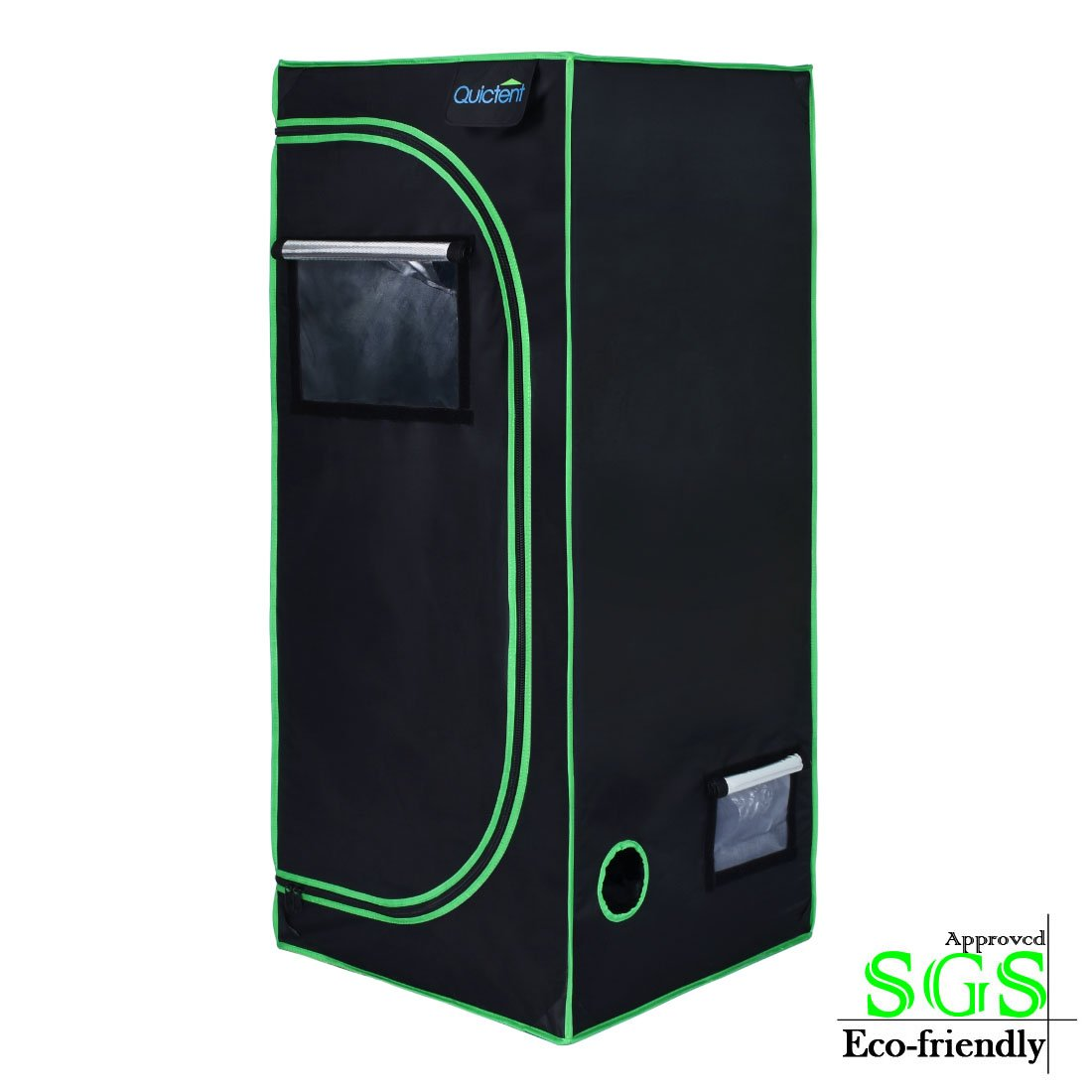 Quictent SGS Approved Eco-Friendly 24''x24''x48'' Reflective Mylar Hydroponic Grow Tent with Obeservation Window and Waterproof Floor Tray for Indoor Plant Growing 2'x2'