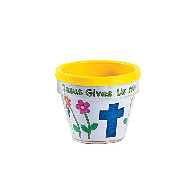 Color Your Own Jesus Give Us Life Artist Flowerpots - Crafts for Kids and Fun Home Activities: Toys & Games