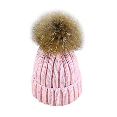 Women Kids Bobble Hat Cute Fur 18CM Pom Pom Ball Knitting Winter Warm Beanie  Crochet Hat 6d5c1de9b85