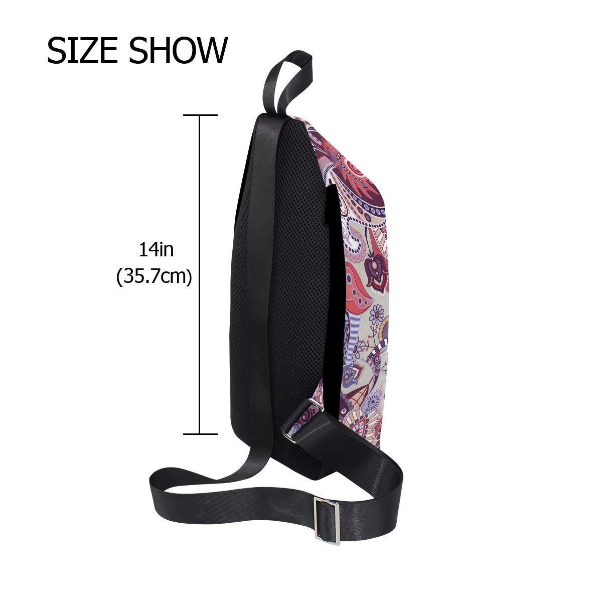 Unisex Messenger Bag Floral Paisley Pattern Shoulder Chest Cross Body Backpack Bag