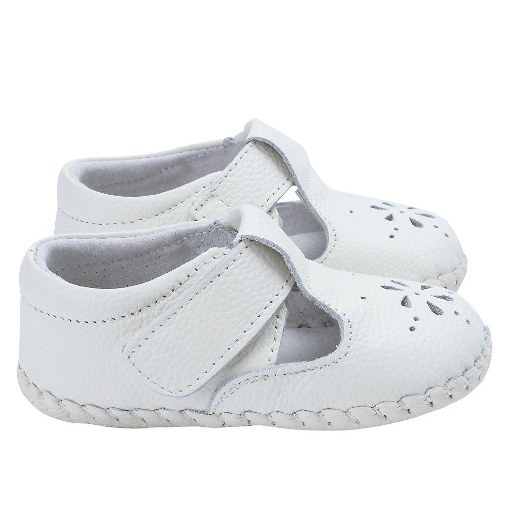 Kuner Baby Girls Genuine Leather Anti-Slip Summer Prewalker Toddler Sandals First Walkers Outdoor Shoes (12.5cm(12-18months), White-2) by Kuner (Image #6)