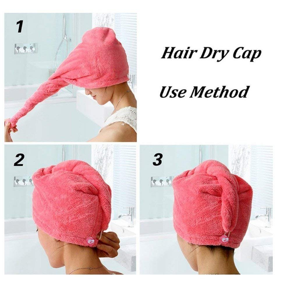 Dry Hair Cap,Jsutime Superfine Fiber Soft Towel Bath Head Wrap Turban(Set of 2PCS,blue and rose)