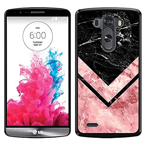 LG G3 D850 D851 LS990 VS985 D855 Case, Fincibo (TM) Back Cover Slim Fit Hard Plastic Protector, Arrowhead Black Pink Marble SLIM (Lg G3 Phone Casing)