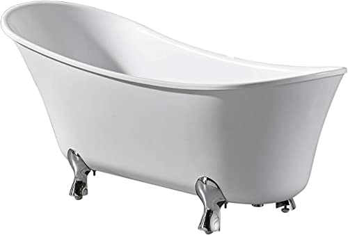 Ove Decors Castor 69 White Clawfoot Freestanding Bathtub Contemporary Soaking Tub