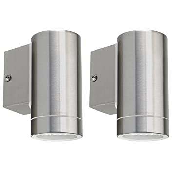 2 x stainless steel outdoor wall light ip65 exterior interior wall 2 x stainless steel outdoor wall light ip65 exterior interior wall light twin pack zlc01 aloadofball Gallery