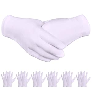 White Gloves, Zealor 24 Pairs Soft Thickened Cotton Gloves, Stretchable Lining Glove for Cosmetic Moisturizing and Coin Inspection, Medium Size