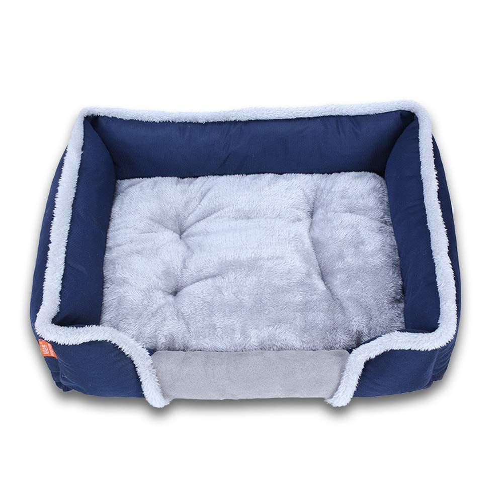 bluee XL 90x65x18cm bluee XL 90x65x18cm Dog Bed Kennel Cat Puppy Basket Detachable Cushion Pet Sofa Bed Mat for Small Medium Large Dogs