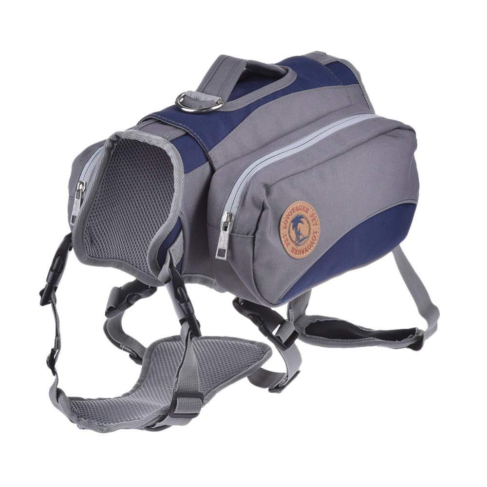 XDYFF Saddle Bag Backpack for Large Dog, Detachable Pack Instantly Turns into Harness, Reflective Safety Adjustable Saddlebag Dog Hiking/Camping Backpacks Gear Dog Saddlebags Dog Vest,Blue,L by XDYFF