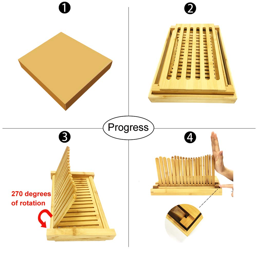 Bread Slicers for Homemade Bread with Crumb Catcher Tray, Compact Foldable Bamboo Bread Cutter Guide, 100 Bread Bags & 100 Twist Ties, Thickness Adjustable, Thick & Thin Slices 1/3'', 3/8'' and 1/2'' by FLAPRV (Image #6)