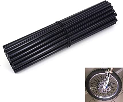 Black Bicycle Dirt Bike 72Pcs Wheel Rim Spoke Skins Wraps Set Universal for Yamaha Kawasaki Suzuki Honda KTM 8-21 Rims Tubes Decor Protector