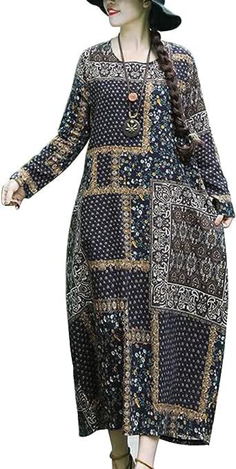 Ladies Dresses Women's Printed Long Sleeve Round Neck Vintage Midi Dress Casual